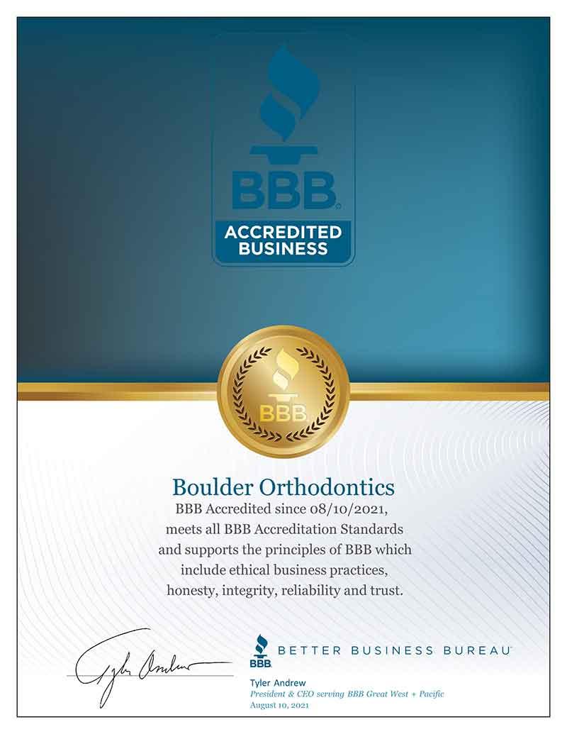 Boulder Orthodontics BBB-Accreditation